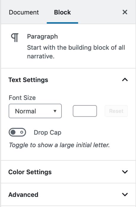 WordPress-Editor – Seitenleiste mit Block-Einstellungen