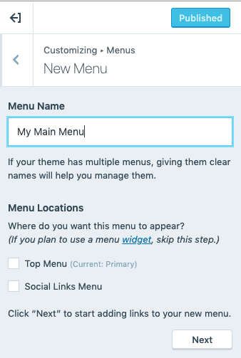 Custom Menu - New Menu Details
