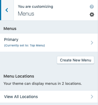 the Customizer with the Menus option selected, showing a Primary menu set to the top menu.
