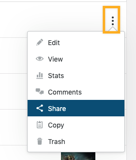 On the Posts list, when the three dots to the right of any post are clicked, Share will show in the options to re-publicize.