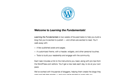 This screenshot shows an example of a course email that highlights Welcome to Learning the Fundamentals.