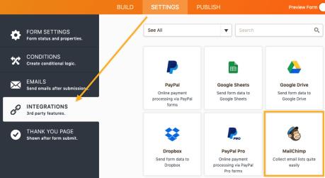 Jotform - Integrating with Mailchimp