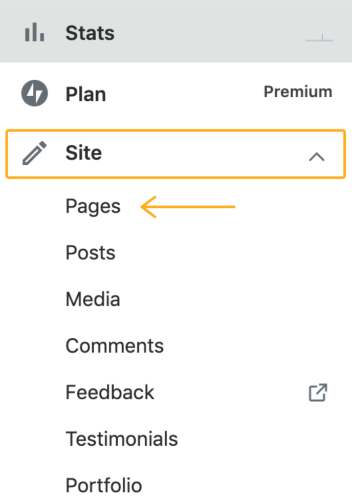 the Site menu expanded and an arrow pointing to the Pages link.