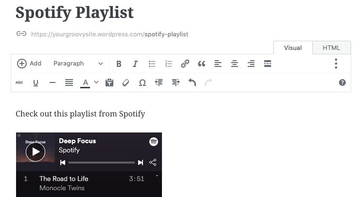 Spotify in the Classic Editor
