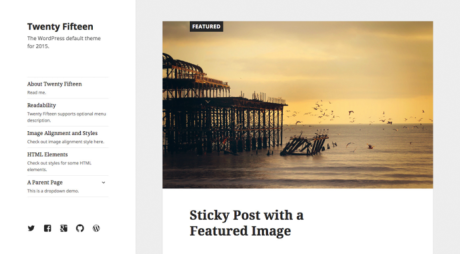 This screenshot shows an image of the demo template from the Twenty Fifteen theme.