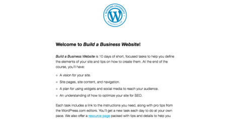 This screenshot shows a Welcome to Build a Business Website email.