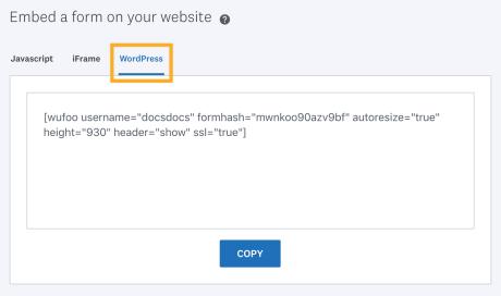 Wufoo - Form Embed Code