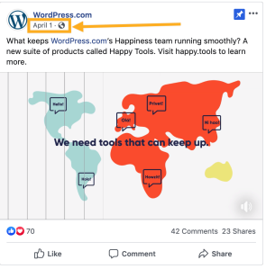 Where to click on a Facebook post to find its URL