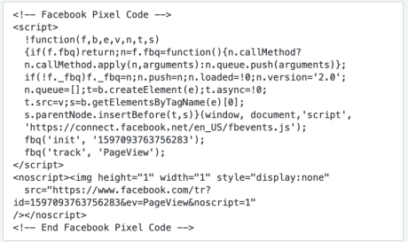 Facebook page pixel code example