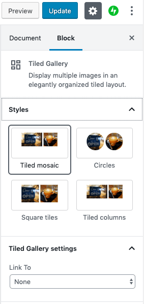 Tiled Gallery Sidebar Settings