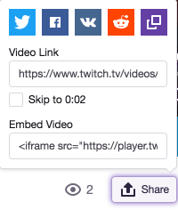 Screenshot of Share button and Video Link field on twitch.tv