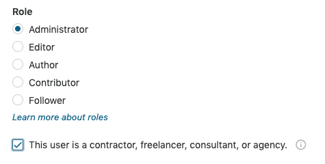 Add a user that is a contractor, freelancer, consultant, or agency.