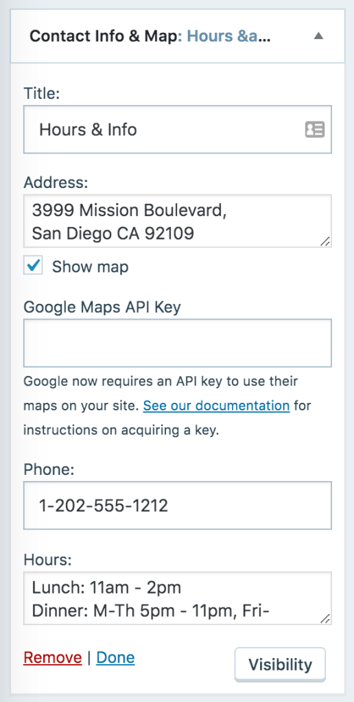 Show Map in Contact Info Settings