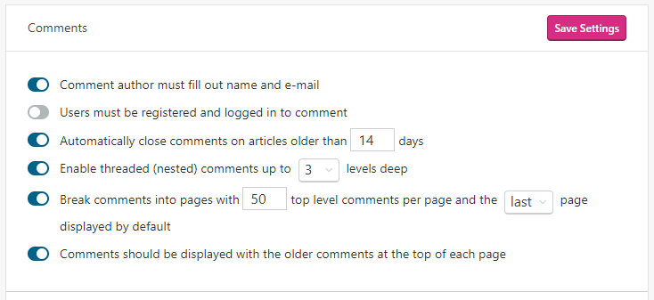 Automatically closing comments is the third option under Comments in the Discussion Settings section.