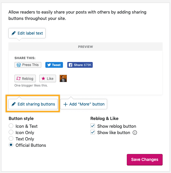 Marketing → Sharing → Editing Sharing Buttons