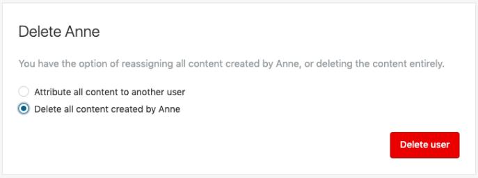 Benutzerrolle: Inhalte löschen
