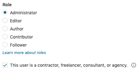 User Roles - Contractor Checkbox