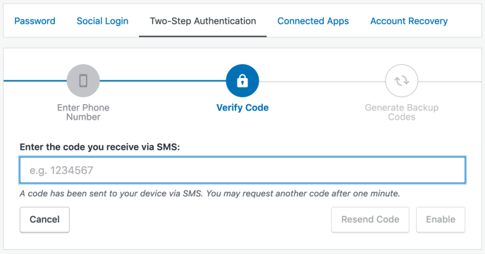 Verify via SMS