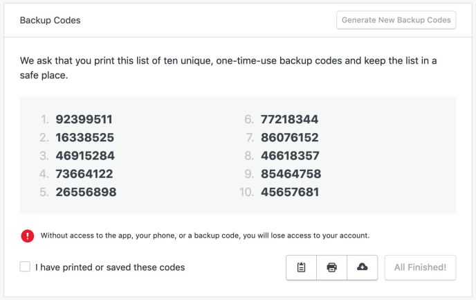 Print out backup codes