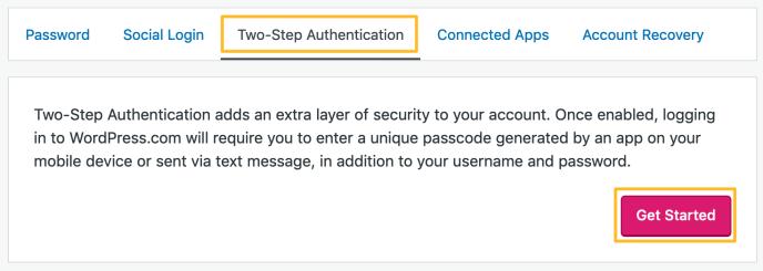 Einstellungen der Zwei-Schritt-Authentifizierung