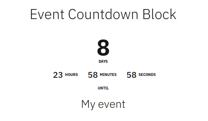 Display of the event countdown block.