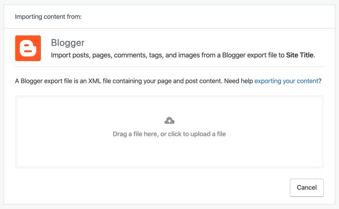 Blogger importer screen