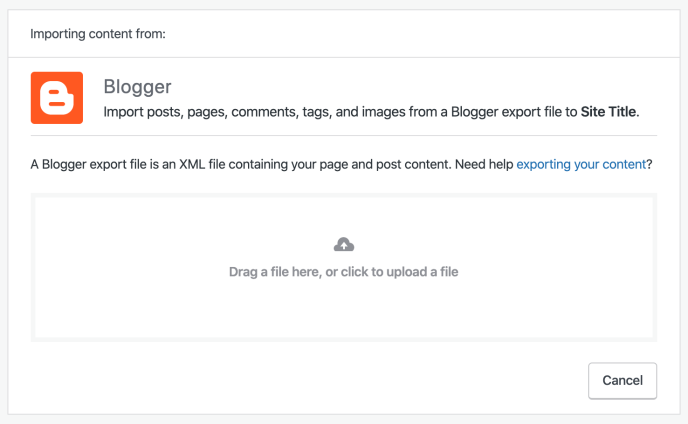 Blogger importer screen