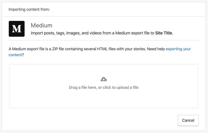 Medium import screen