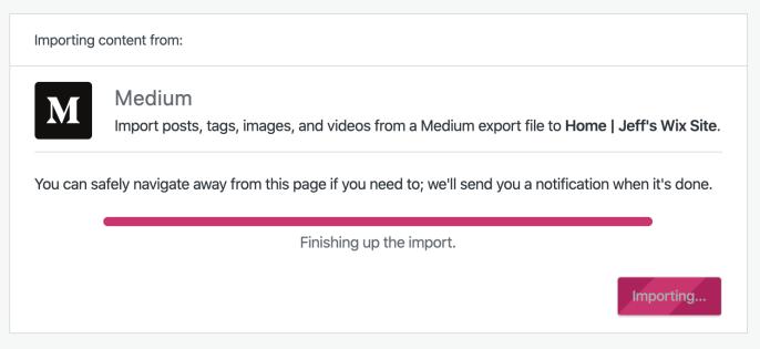 Medium Import processing screen
