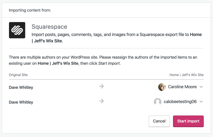 Squarespace importer author assignment screen