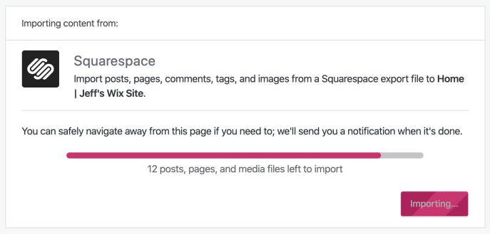 Squarespace importer progress screen