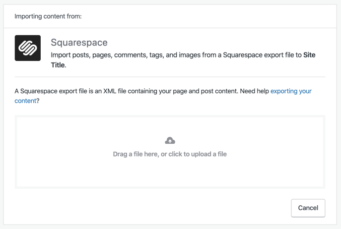 Squarespace importer screen