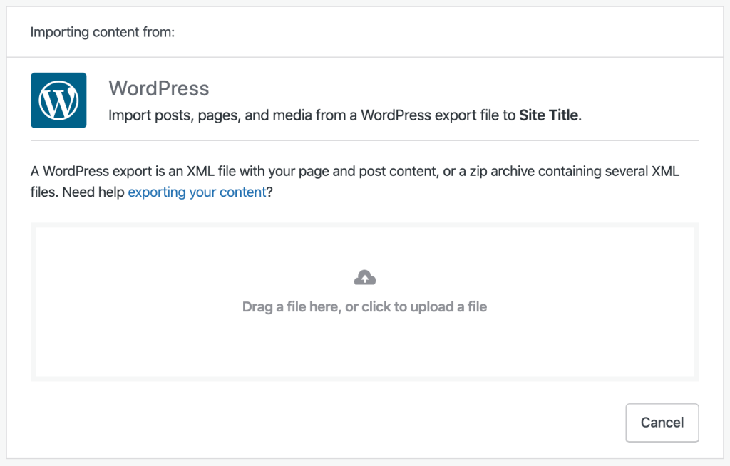 WordPress import screen