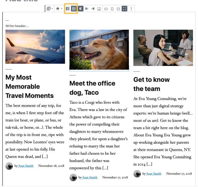Visualização em grade - Bloco de posts de blog