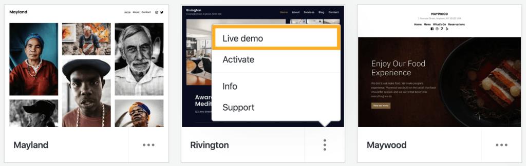 Live Demo option