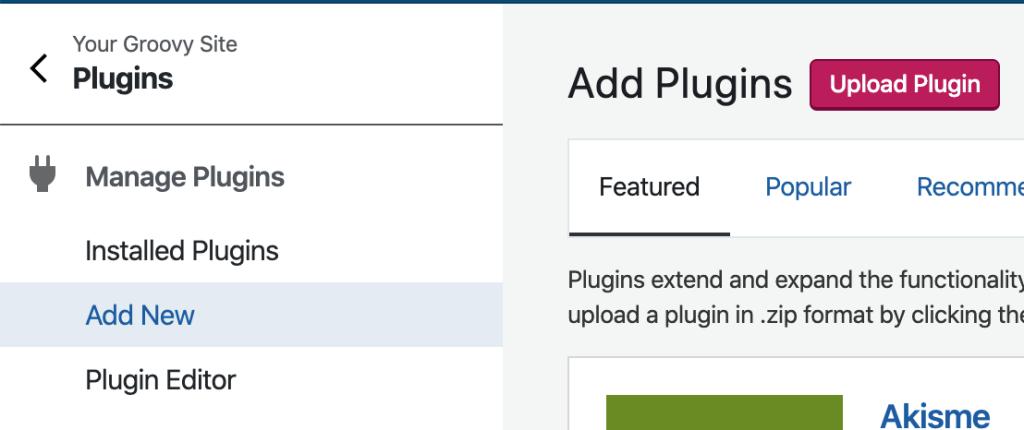Manage Plugins - Plugin Manager