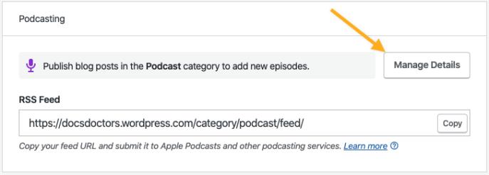 Como gerenciar detalhes do podcast