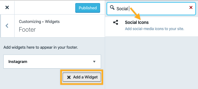 Social Icons Widget - Add Widget