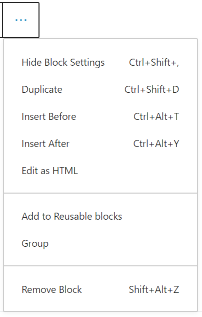 the ellipses (More Options) menu expanded to show the additional block options.