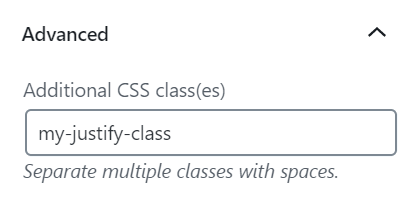 Advanced block setting showing Additional CSS classes