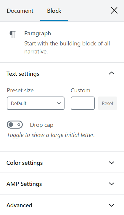 the Block settings sidebar displaying the Paragraph block options like Text, color, AMP settings.