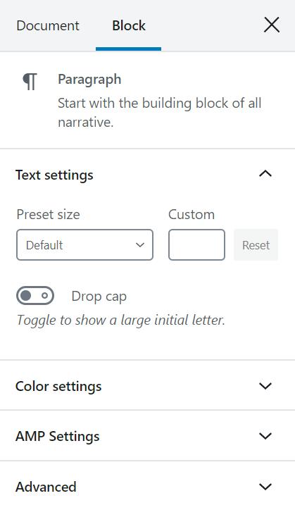 Block Settings - Sidebar