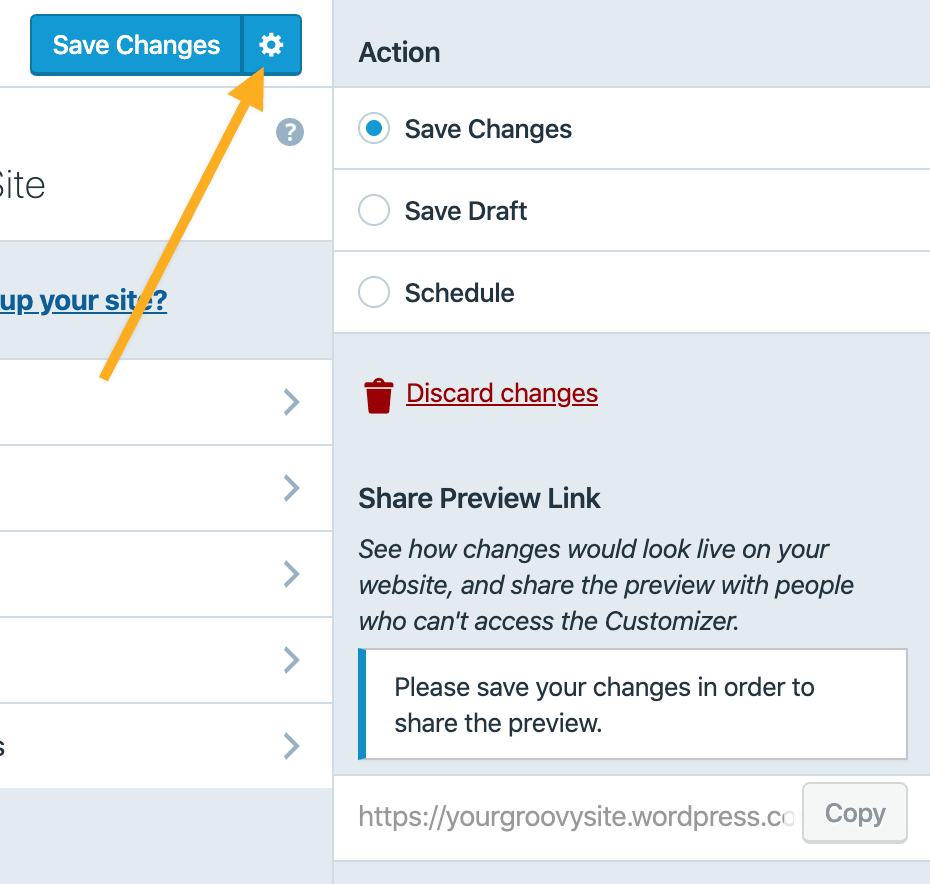 Customizer - Save Changes Actions