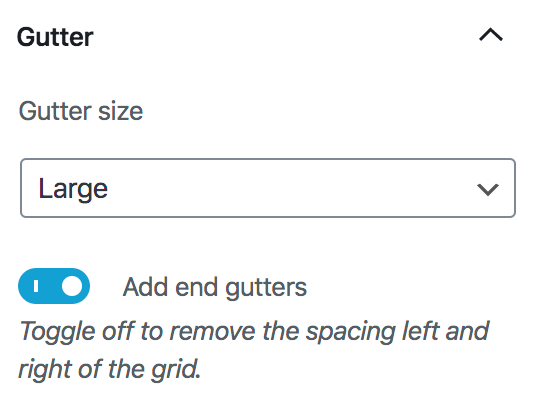Image showing the gutter settings
