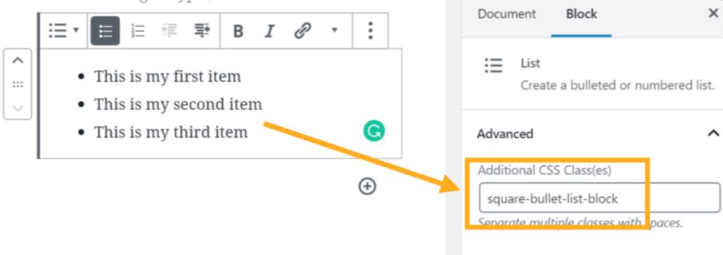 Adding a custom class to the list block