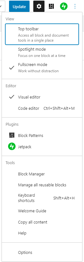 the ellipses menu in the top toolbar expanded to show the view, editor, plugins and other display settings for the block editor.