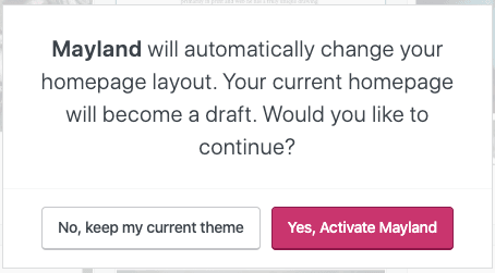 Page Layout - Theme Homepage Change Warning