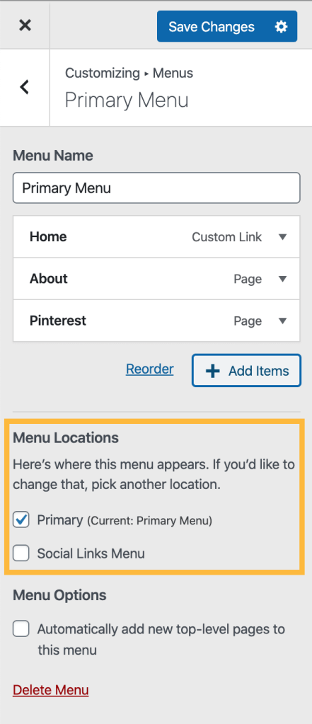 customizing Menus with a box drawn around the option for Menu Location and the Primary Menu location option checked.