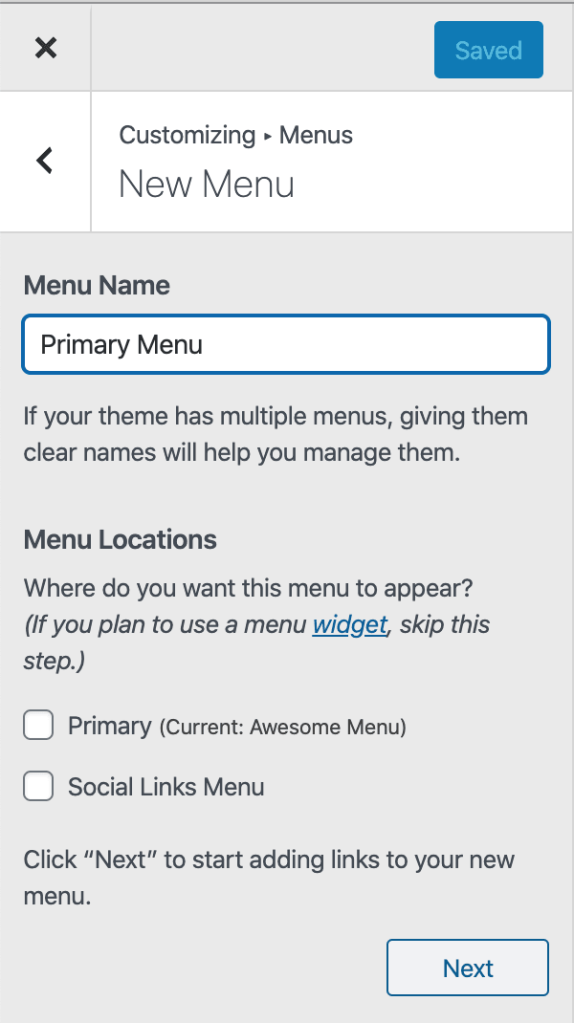 Site Menu - Setting up a New Menu