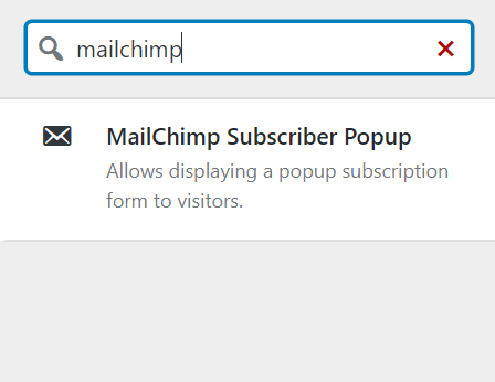 Selecting the Mailchimp widget